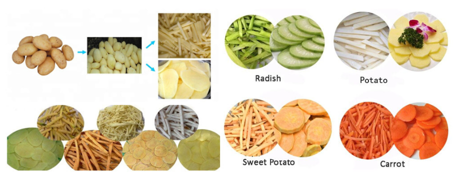 real working effect of the potato peeler and slicer machine