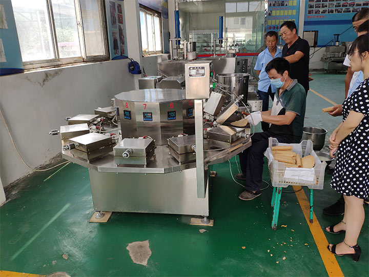 waffle egg rolls production testing in factory