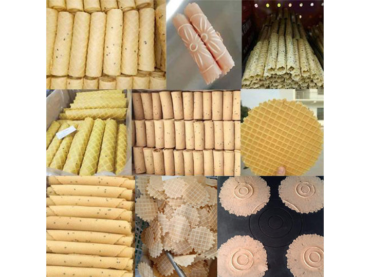 waffle egg rolls with different shapes