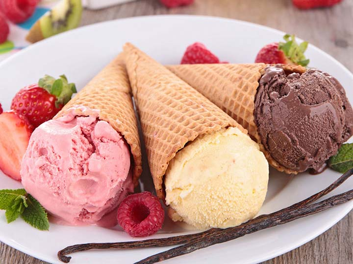 hard ice cream with cones