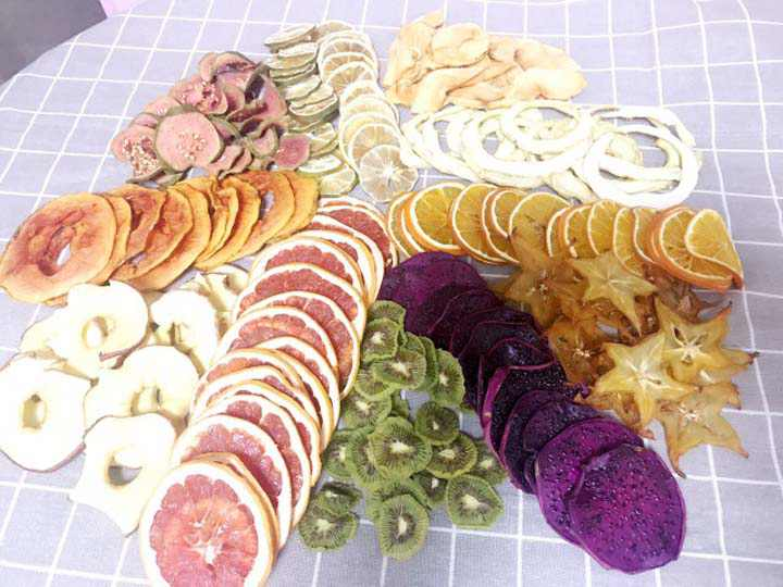 Various fruits and vegetable slices