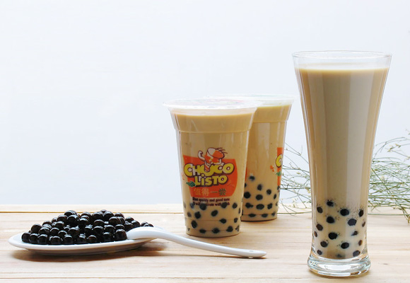 boba bubble tea with tapioca pearls made by the boba maker machines