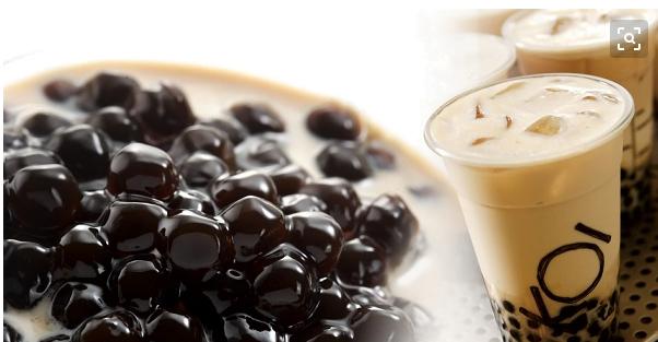 boba tea with black tapioca pearls