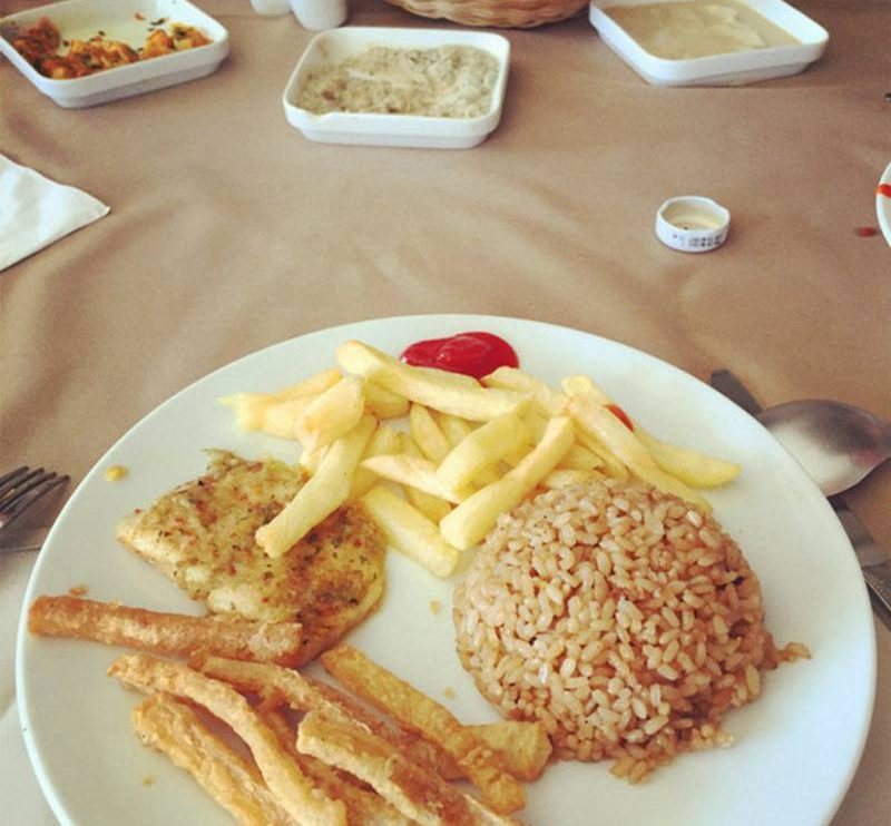Egypt dinner with french fries