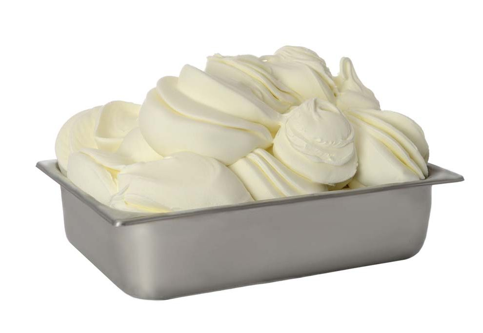 fresh hard ice cream made by the hard ice cream freezer
