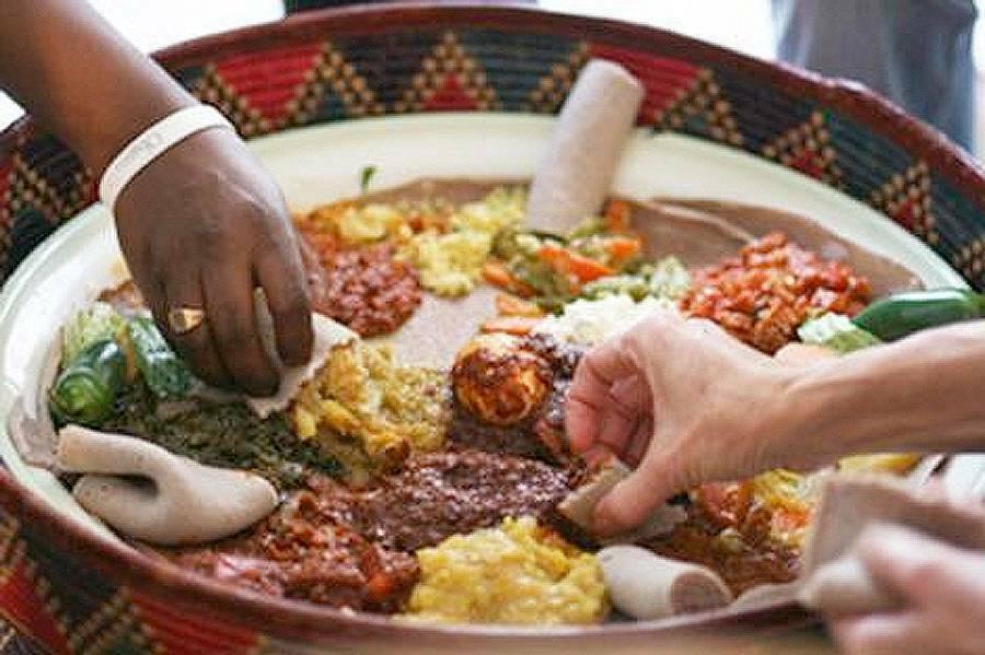 Ethiopian injera dishes