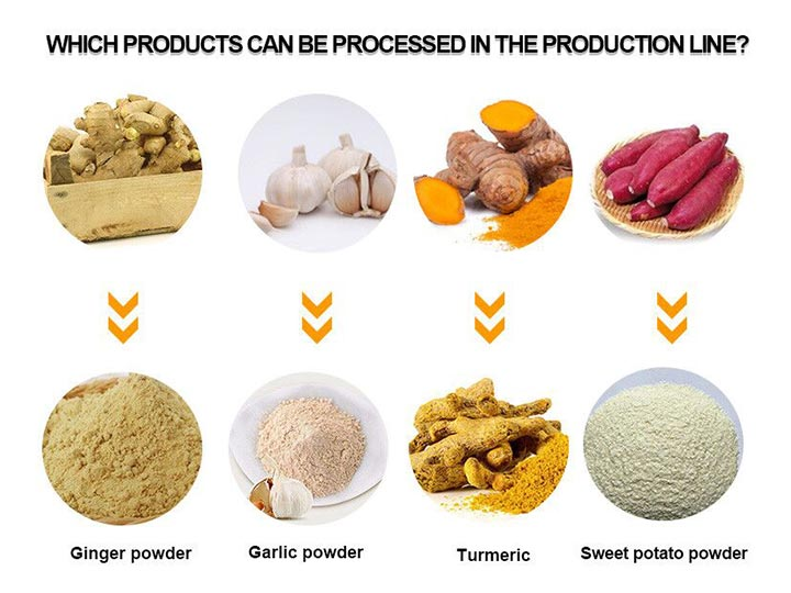 Application of ginger powder production line